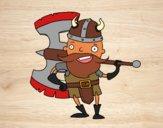 Dibujo Vikingo con gran hacha pintado por NievesMC