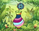Crisantemo en un jarrón