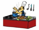 Dibujo Cocinero en la cocina pintado por teacherYax