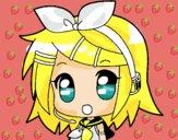 Dibujo Chibi RIN kagamine pintado por yaji