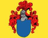 Dibujo Escudo de armas y casco pintado por Joer