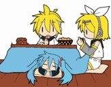 Dibujo Miku, Rin y Len desayunando pintado por Nina001