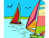 Dibujo Velas en alta mar pintado por bandin