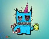 Dibujo Monstruo con regalos de cumpleaños pintado por sandialaga