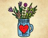 Dibujo Bote con flores silvestres y un corazón pintado por Saraiariza