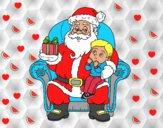 Papá Noel y niño en Navidad