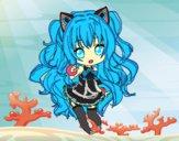 Dibujo SeeU Chibi Vocaloid pintado por Miku-01