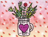 Dibujo Bote con flores silvestres y un corazón pintado por psa123