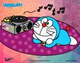 Doraemon escuchando música