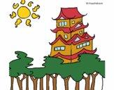 Dibujos de casas para colorear for Casa clasica japonesa