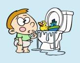 Niño en el váter