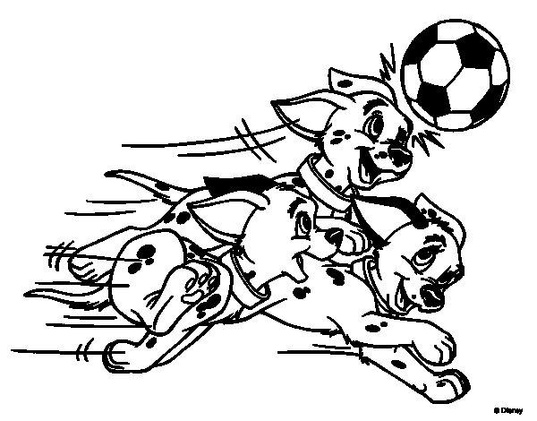 Dibujo De Jugando A Fútbol Para Colorear: Dálmatas Jugando A Fútbol Para