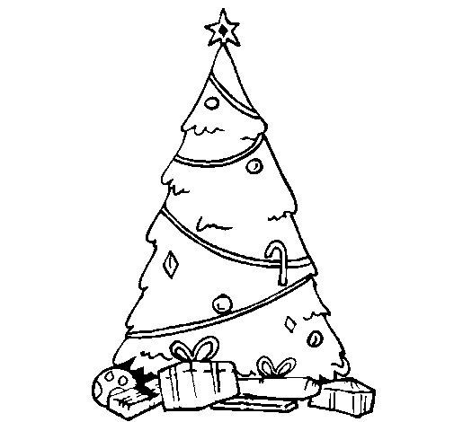 Dibujo de abeto con adornos navide os para colorear - Motivos navidenos dibujos ...