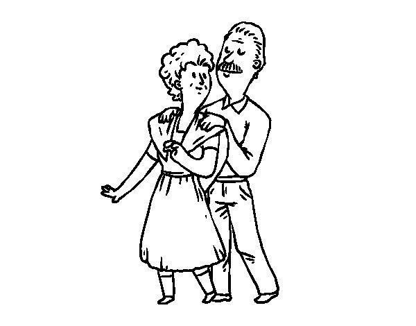 Dibujo de Abuelo y Abuela para Colorear