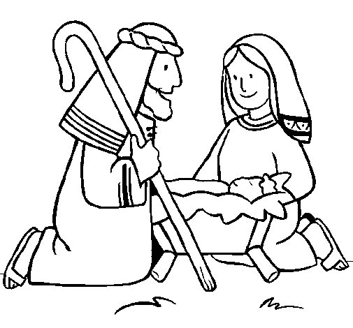 Dibujo de Adoran al niño Jesús para Colorear