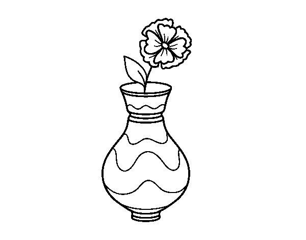 Dibujo de Amapola con jarrón para Colorear