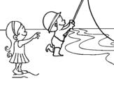 Dibujo de Amigos pescando para colorear