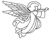 Dibujo de Ángel con grandes alas para colorear