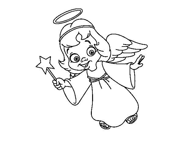 Dibujo de Ángel de Navidad mágico para Colorear