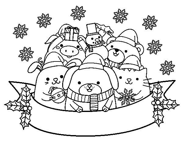 Dibujo de animalitos navide os para colorear - Dibujos navidenos para imprimir y colorear ...