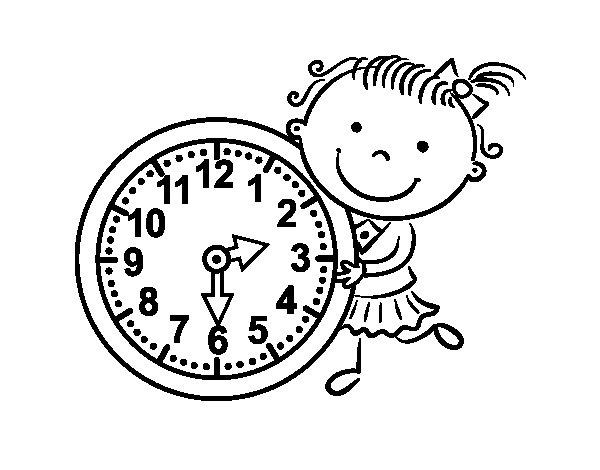 Dibujo de aprender las horas para colorear - Dibujos de relojes para imprimir ...