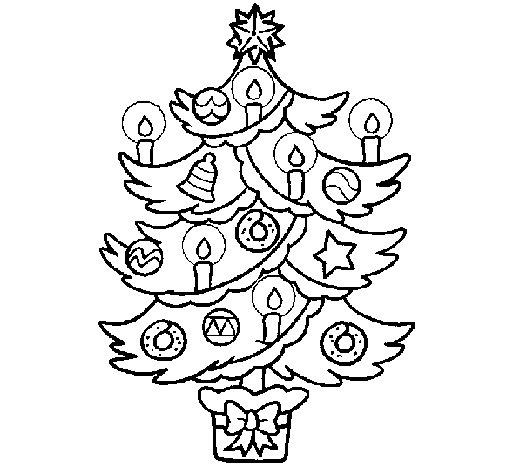 dibujo de rbol de navidad con velas para colorear