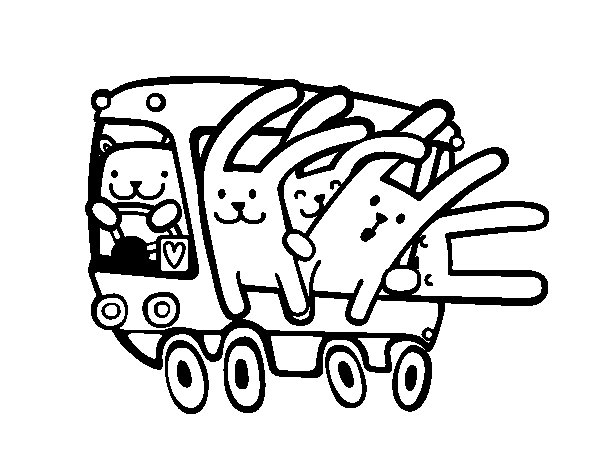 Dibujo de Autobús de los conejos para Colorear