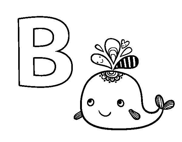 Dibujo de B de Ballena para Colorear
