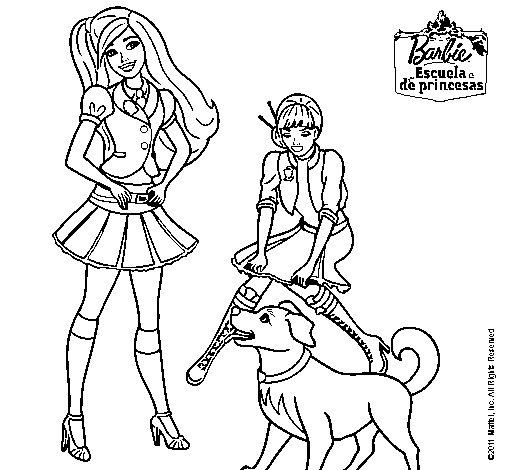 Dibujo de Barbie con su perrito y una amiga para Colorear