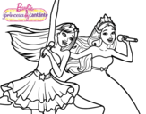 Dibujo de Barbie y la princesa cantando para colorear