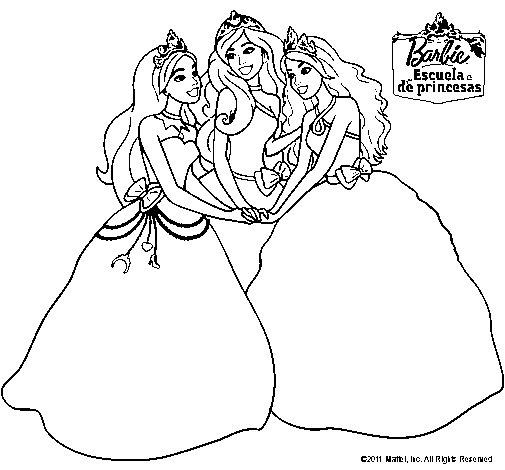 Dibujo de Barbie y sus amigas princesas para Colorear ...