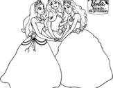 Dibujo de Barbie y sus amigas princesas para colorear