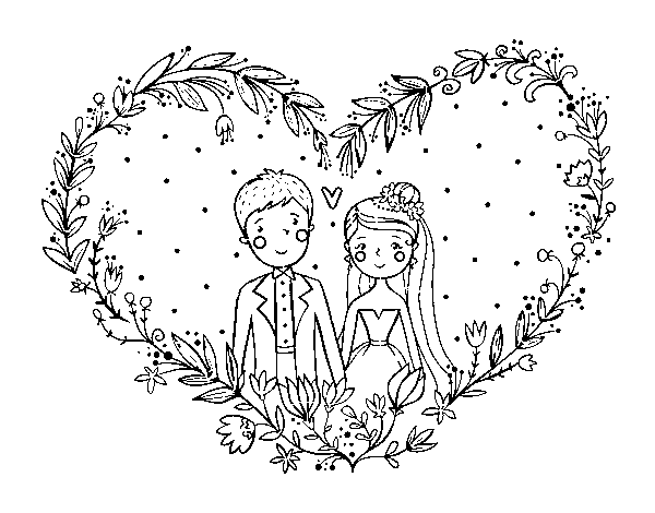 Matrimonio Catolico Para Dibujar : Dibujo de boda corazón para colorear dibujos