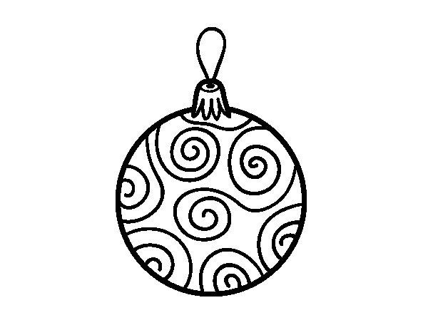 Dibujos Para Colorear Arboles Navidenos: Dibujo De Bola De árbol De Navidad Decorada Para Colorear