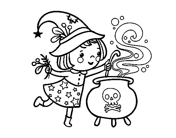 Dibujo de Brujita con pócima para Colorear