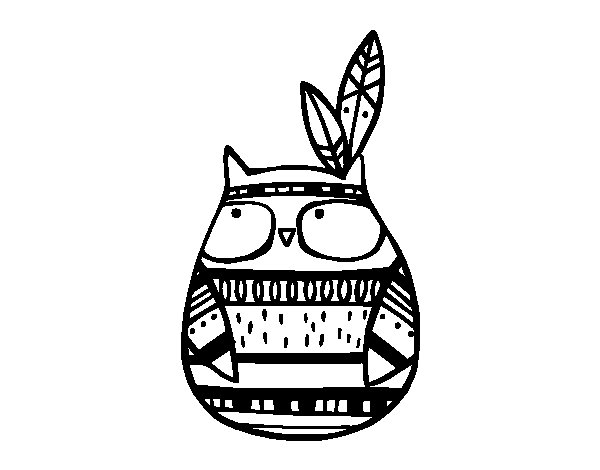 Dibujo de Búho indio para Colorear