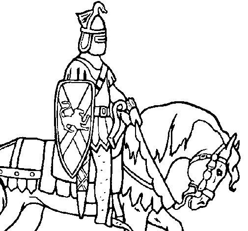 Dibujo de Caballero a caballo para Colorear