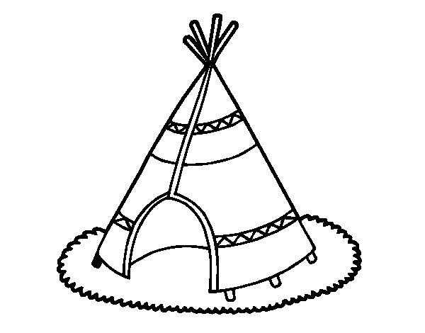 Dibujo de Cabaña de indios para Colorear