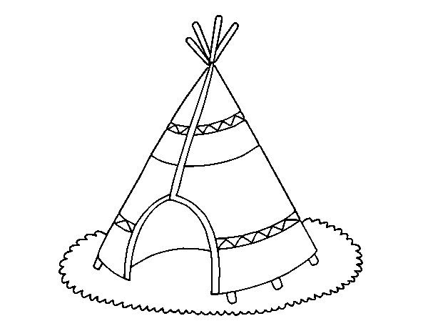 Dibujo de Cabaña de indios para Colorear - Dibujos.net