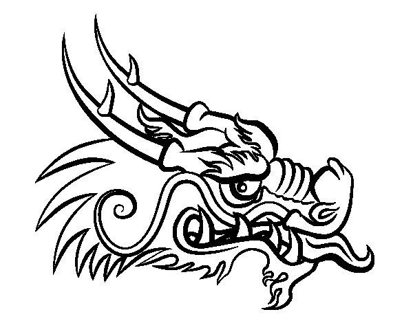 Dibujo de Cabeza de dragón rojo para Colorear