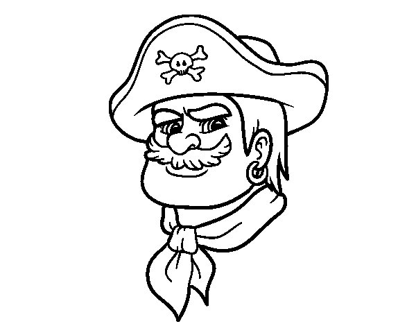 Dibujo de Cabeza de pirata para Colorear
