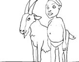 Dibujo de Cabra y niño africano para colorear