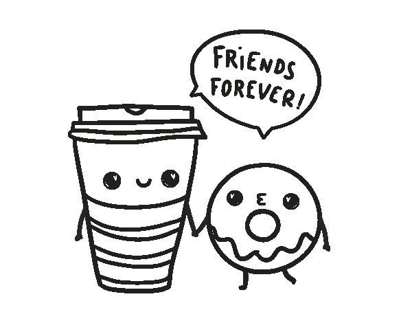 Dibujo de Café y donut para Colorear
