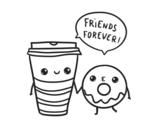Dibujo de Café y donut