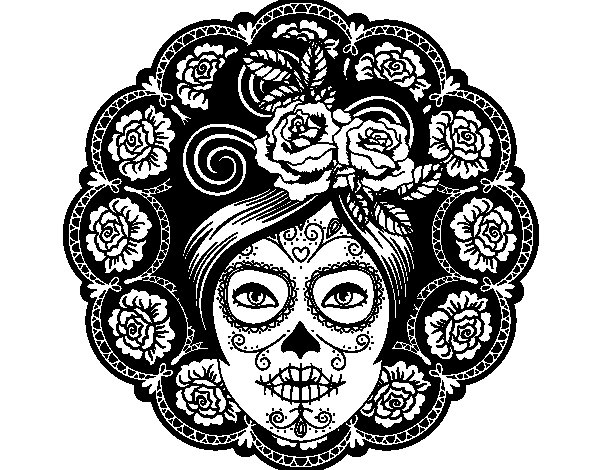 Dibujo de Calavera mejicana femenina para Colorear