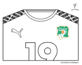 Dibujo de Camiseta del mundial de fútbol 2014 de Costa de Marfil para colorear