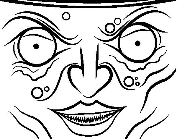 Dibujo de cara de bruja para colorear - Como pintar la cara de nina de bruja ...