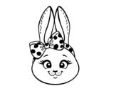 Dibujo de Cara de conejita para colorear