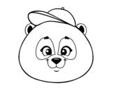 Dibujo de Cara de oso panda con gorro para colorear