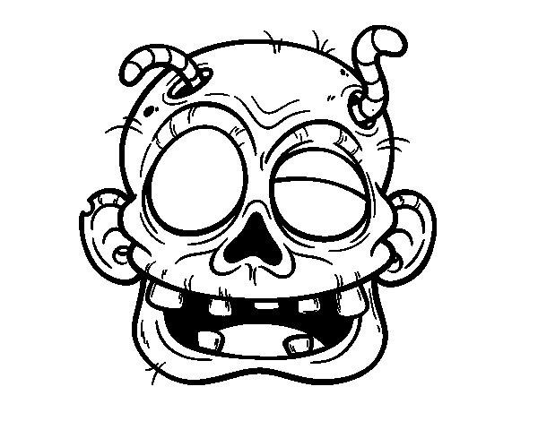 Dibujo de Cara de zombie con gusanos para Colorear
